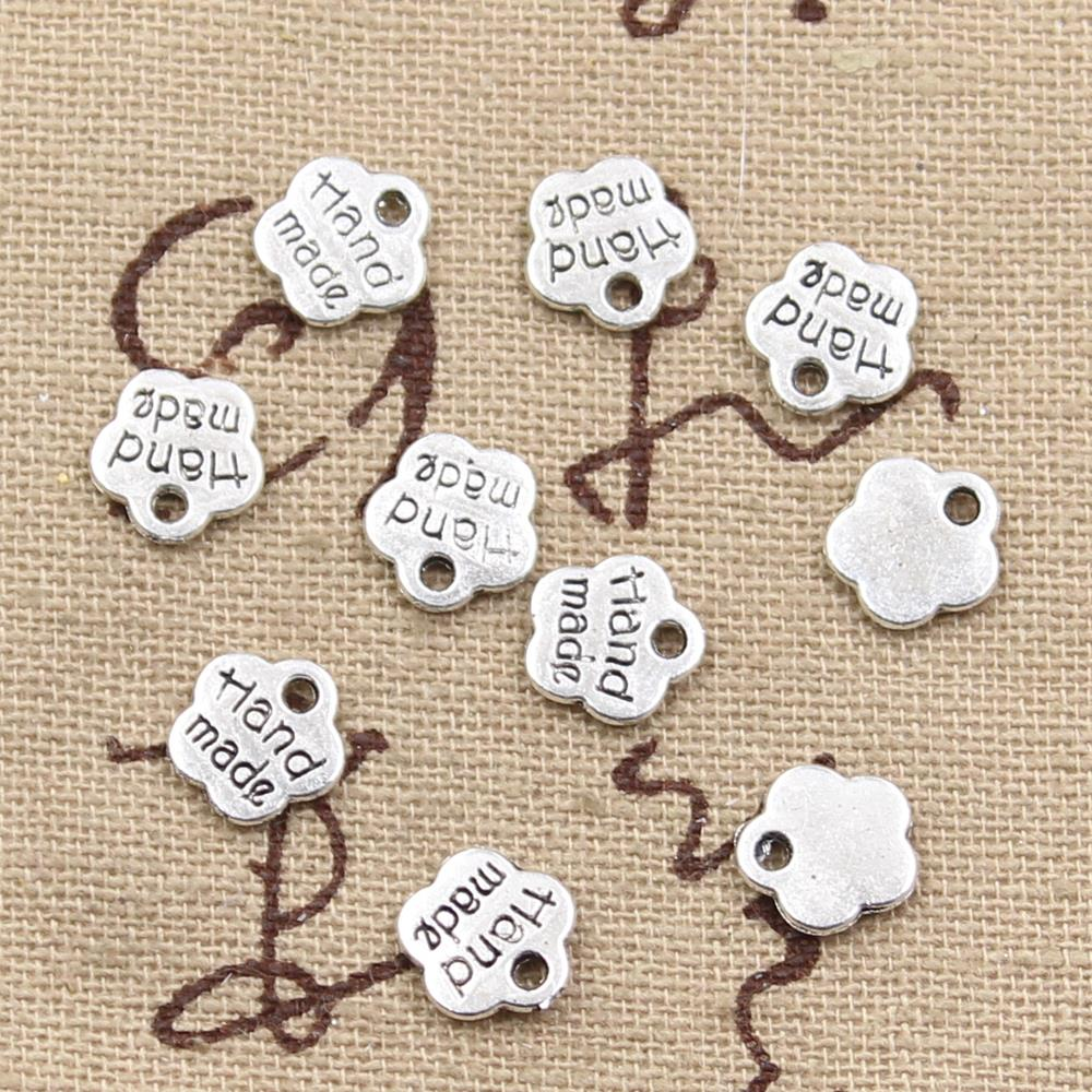 100pcs Charms Plates Hand Made 8x8mm Antique Bronze Silver Color Pendants Making DIY Handmade Tibetan Bronze Jewelry(China)