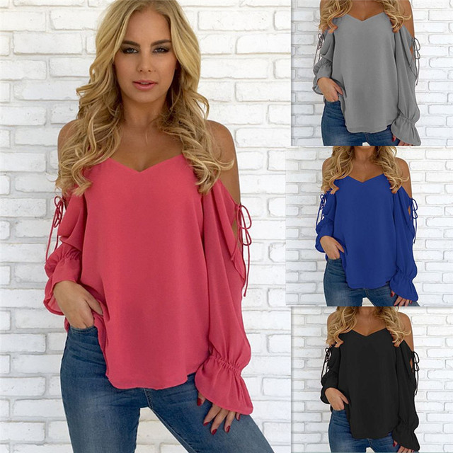 ac46ab47db91a3 Loose Casual Chiffon Women Tops Summer New Fashion Sexy V Neck Bare  Shoulder Blouse Solid Female