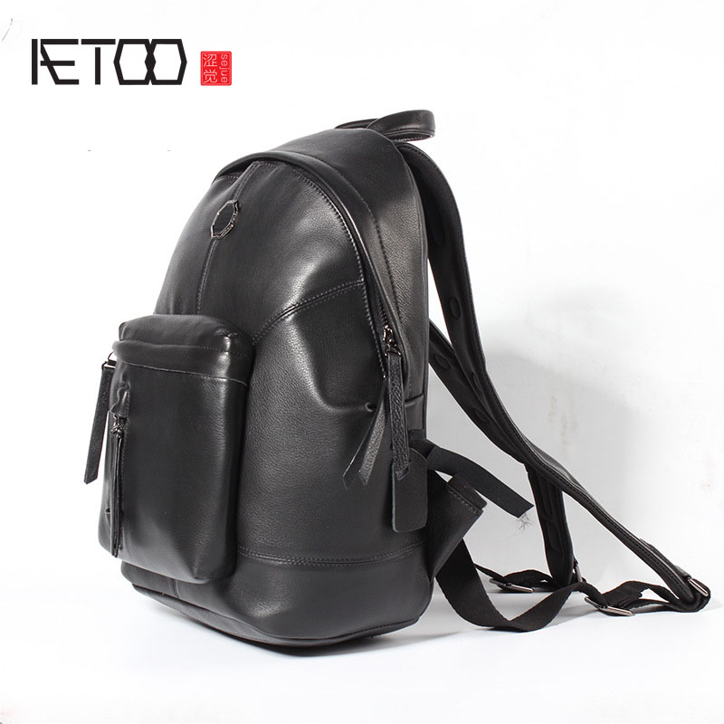 AETOO New men 's leather shoulder bag leisure travel backpack first layer of leather large capacity male leisure bag aetoo retro shoulder bag genuine handmade men women casual travel backpack large capacity first layer leather