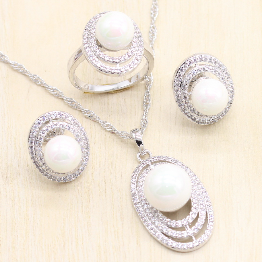 925 Silver Bridal Jewelry Sets Natural White Zircon With Pearls Beads Wedding Earrings Pendant Necklace Ring