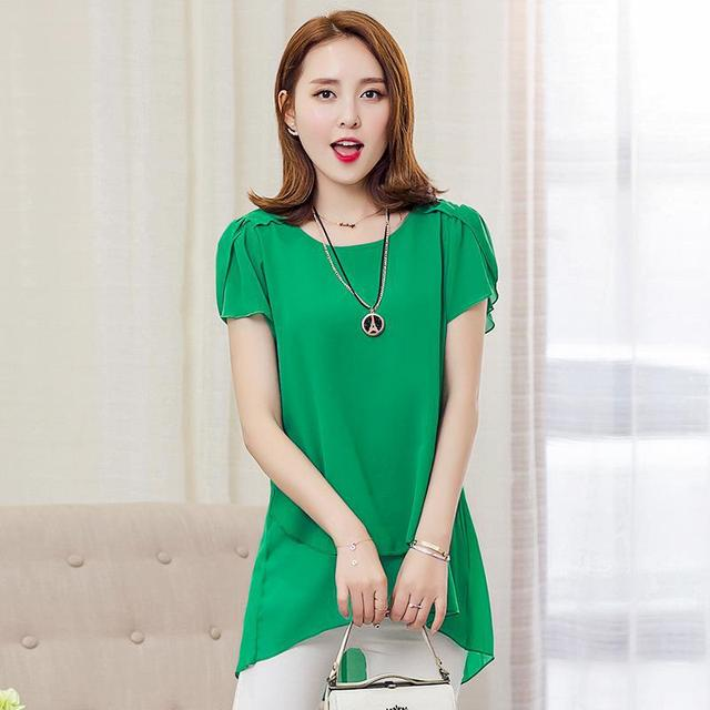 Short Sleeve Chiffon Shirts Women Summer Korean Fashion Clothing Loose O-neck Ruffles Solid Tops Femme Plus Size 4XL Hot Sale