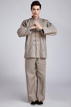 Винтаж-Коричневый Китайских Людей Кунг-фу Равномерное Белье Костюм С Длинным Рукавом Одежды Размер M, Чтобы XXXL 2516