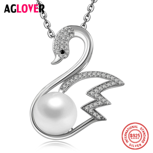 AGLOVER 925 Sterling Silver Women Necklace Fashion Charm Swan 10mm Natural Pearl Pendant Silver Necklace Women Fine Jewelry