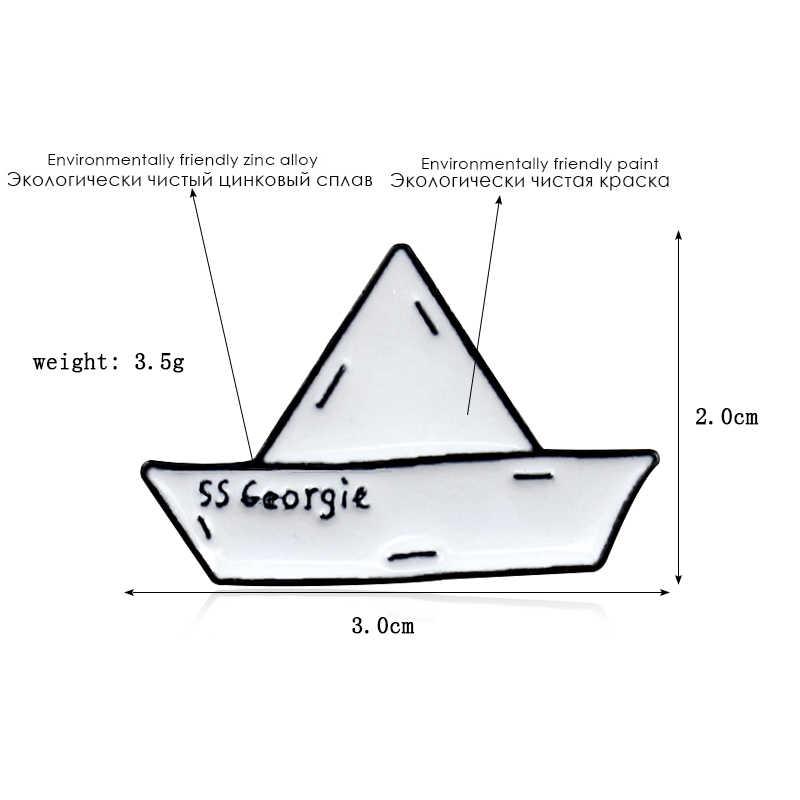 Creatieve Papier Boot Papier Vliegtuig Metalen Emaille Broche Liefde Golf Ijsberg Drift Fles Badge Pin Leuke Trendy Sieraden Accessoires