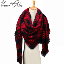 Visual Axles Plus size 140 140cm 2017 Fashion Women Winter Luxury Brand Warm Knitting Square Tartan