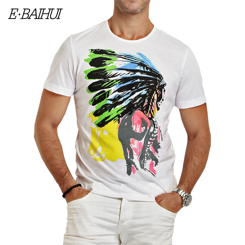 E-BAIHUI Brand cotton mens t shirts printing Men T-shirt  casual tops tees  Camisetas Hip Hop American Indian Swag t-shirts Y025