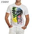 E-BAIHUI Marca de algodón para hombre camisetas Hombres de la impresión Camiseta ocasional remata Camisetas Camisetas Hip Hop Swag camisetas Indio Americano Y025