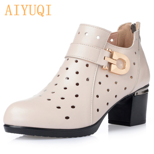 AIYUQI Plus size 35-43 # Spring women's shoes ,2019  genuine leather women shoes, fashion Hole shoes  casual Single  shoes women