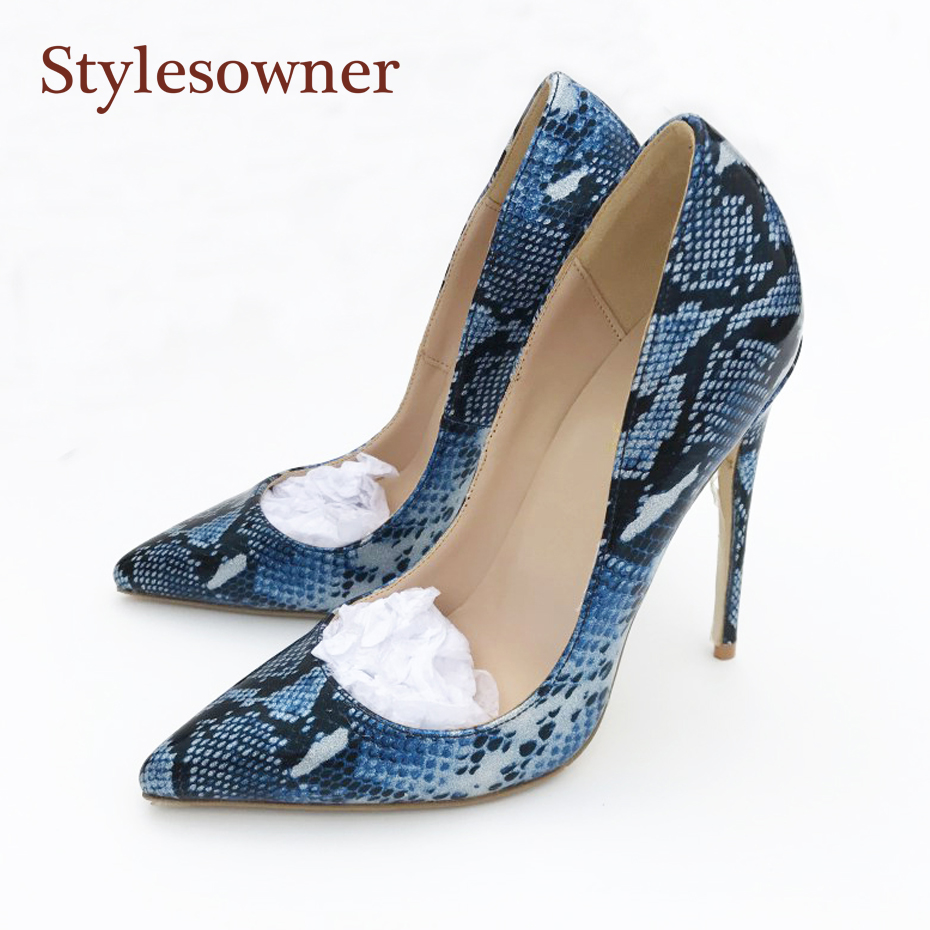 ed3ce5572 Stylesowner Azul Pele de Cobra PU Senhora de Couro Único Sapato Pontudo Toe  12 cm 10