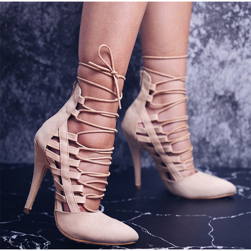 cc115fe5488a Women Shoes - Sexy Thin High Heels Ankle Strap Cross Tied Retro ...