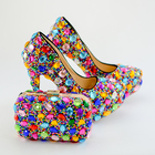 Crystal Shoes High Heels Colorful Diamond Women Shoes Bag Set For Party Evening Dress Customize Bright Glittering Girls Ladies