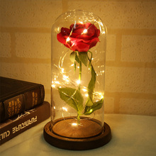 Artificial Red Rose With LED Light In Glass Gold-plated Dome For Valentine's Day Wedding Party Mother's Day Gifts Drop Shipping