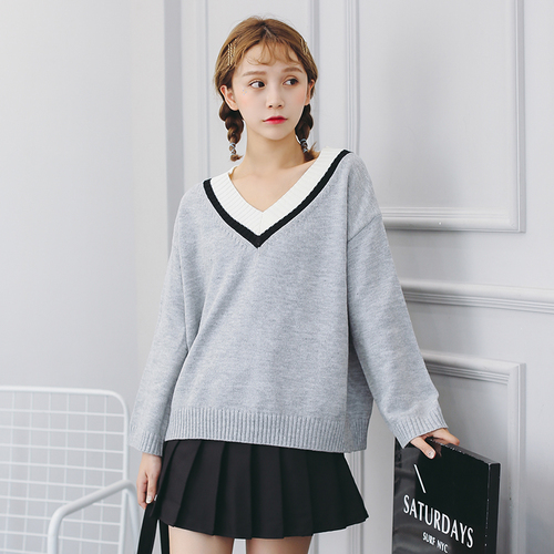 Women Sweaters and Pullovers 2017 Autumn Winter Korean Style Casual Striped  V Neck Long Sleeve Sweater Knitwear Sueter T136-in Pullovers from Women s  ... ddf1b6773