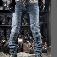 2016 High quality mens jeans Motorcycle locomotive Biker Jeans Pants Denim Pleated jeans men with Knee Pad Trousers