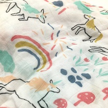 Lovely Unicorns Patterned Breathable Bamboo Fiber Swaddle Blanket