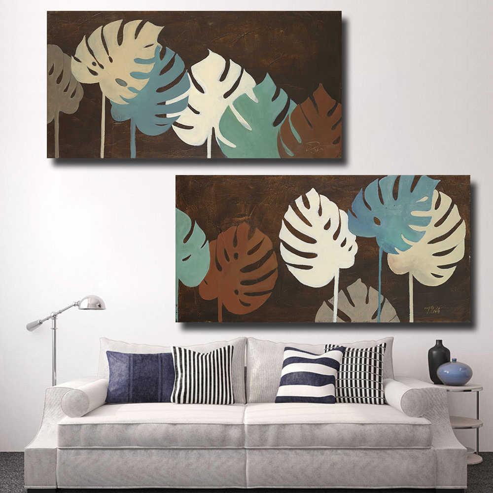 Qkartポスター家の装飾2ピース油彩画キャンバス熱帯植物滝景観壁写真用寝室
