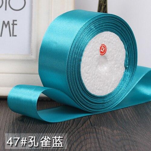 25 ярдов/рулон 6 мм, 10 мм, 15 мм, 20 мм, 25 мм, 40 мм, 50 мм, шелковые атласные ленты для рукоделия, швейная лента ручной работы, материалы для рукоделия, подарочная упаковка - Цвет: Peacock blue