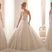 Ivory Sweetheart Beading Lace A Line Tulle Wedding Dress With Crystal Waist Band