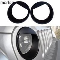 Marloo Paar Angry Ogen Zwarte Bezels Front Light Koplamp Trim Cover ABS Voor Jeep Wrangler Accessoires Rubicon Sahara JK 07-17