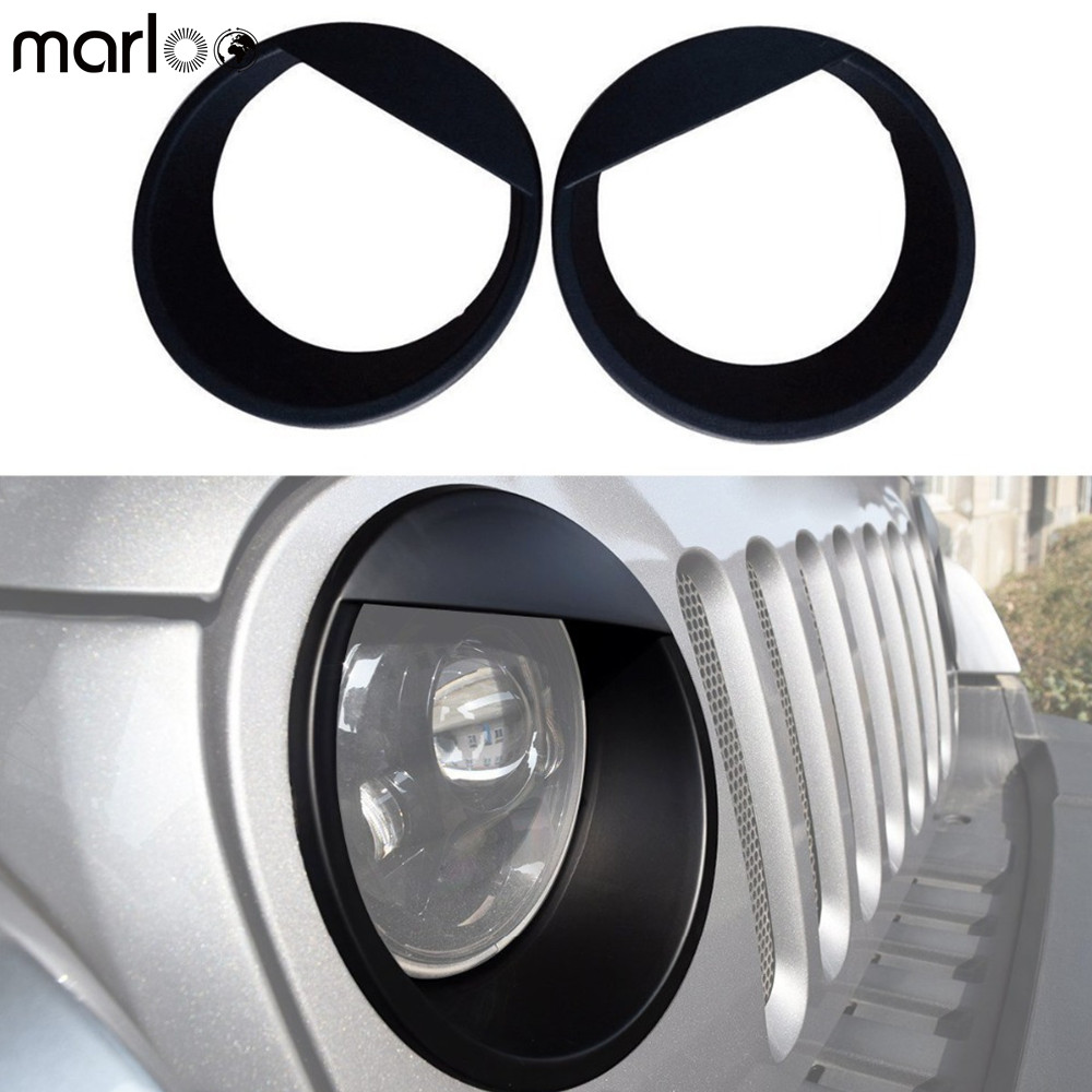 Marloo Pair Angry Eyes Black Bezels Front Light Headlight Trim Cover ABS For Jeep Wrangler Accessories Rubicon Sahara JK 07 17|abs cover|abs blackabs accessories - title=