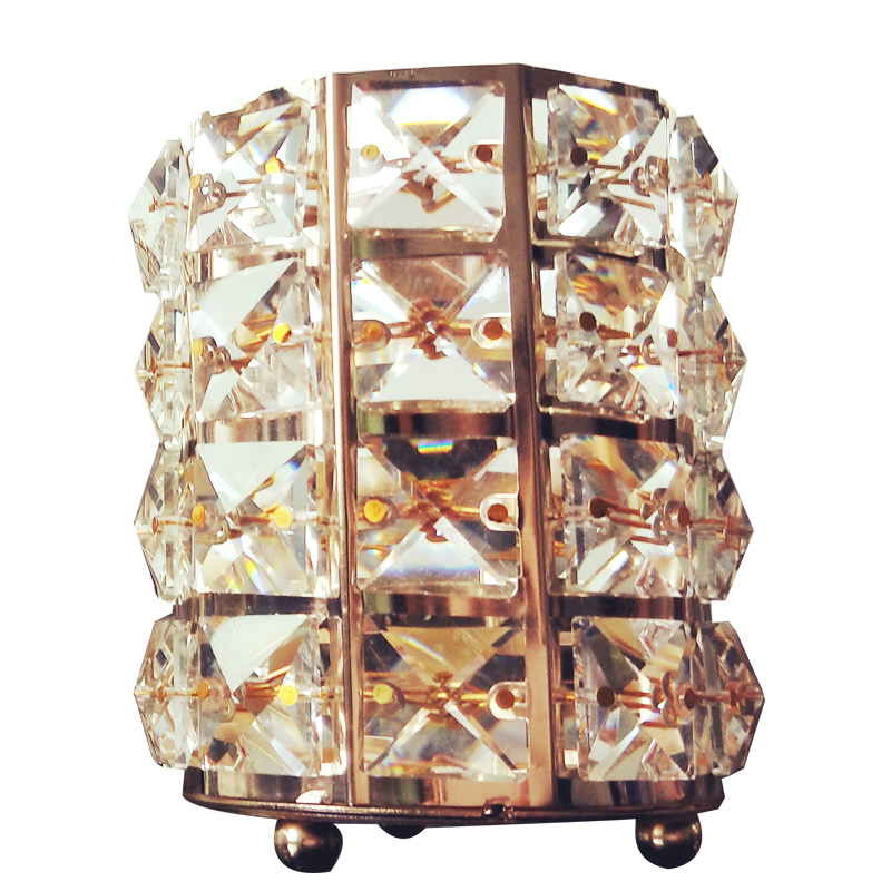 Exquisite European Gold Crystal Cosmetic Storage Tube Desktop Makeup Brush Eyebrow Pencil Comb Dressing Table Organizer Box in Storage Boxes Bins from Home Garden