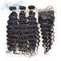 New star cabelo brasileiro virgem do cabelo com fechamento profunda brasileira wave 3 pacotes com a parte livre do laço da onda profunda fechamento