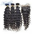 new star hair brazilian virgin hair with closure Brazilian deep wave 3 bundles with a free part deep wave lace closure
