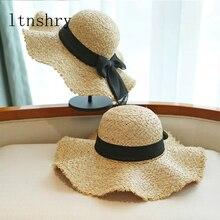 Women Summer Hat Ribbon Bow wave Raffia Straw Hats for High Quality Flat Top Boater Female Wide Brim Beach Sun