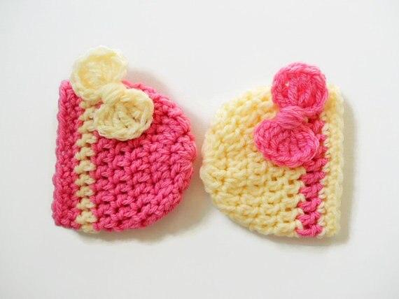 Újszülött lány sapka - Baby Girl Beanie - Bow Pink Hat - Baby - Bébi ruházat - Fénykép 4