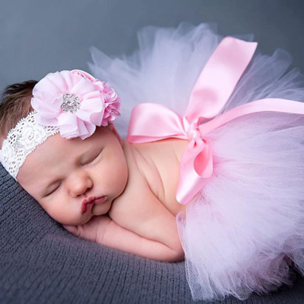 2 Teile/satz Neugeborenen Haar Kopfschmuck Stirnband Mädchen Neugeborenen Fotografie Requisiten Rosa Bowknot Blase Rock Haarband