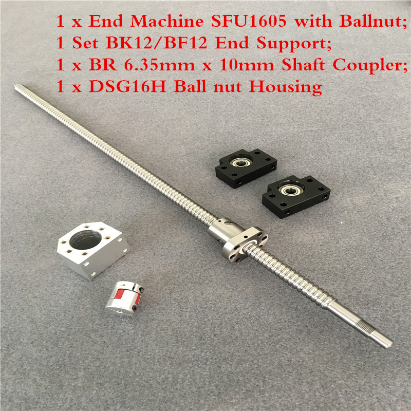 RM1605 Set SFU1605 Rolled Ball Screw C7 With End Machined + Coupler 6.35mm x 10 Ball Nut &amp Nut Housing BK/BF12 End Support +