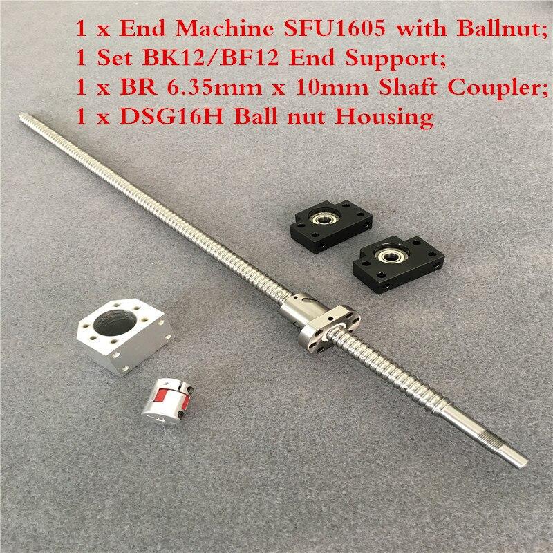 RM1605 Set SFU1605 vis à billes roulées C7 avec extrémité usinée + coupleur 6.35mm x 10 écrou à billes et écrou amp boîtier BK/BF12 Support d'extrémité +
