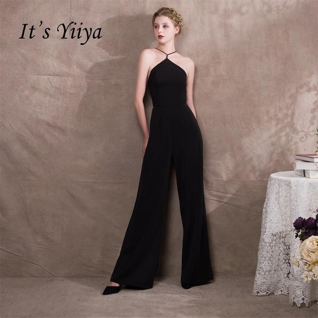 It S Yiiya Halter Backless Taffeta Zipper Empire Dinner Party Dress Elegant Jumpsuit Formal Pant Suit Evening