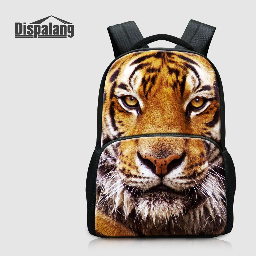 Dispalang Tiger Printing Back Pack For Teenage Boys Animal Leopard Fox Men's Travel Outdoors Laptop Bagpack Children School Bags smilodon tiger lion polar bear cheetah eagle classic toys for boys ferocious beast movable animal small size without box
