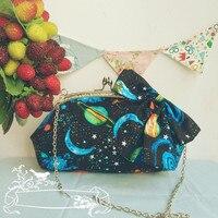 Lolita Skyblue Bow Moon Galaxy Princess Alice Handbag Shoulder BAG Handmade Handbag Messenger Bag School Women Lady Girls Bag