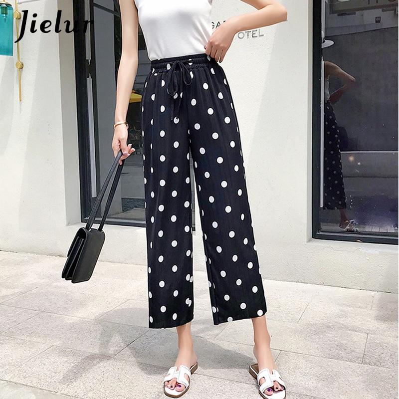 Jielur Fashion High Waist Trousers Women Dot Print Wide Leg   Pants   Drawstring Silk Casual Ladies   Capris     Pant   Pantalon Femme S-3XL