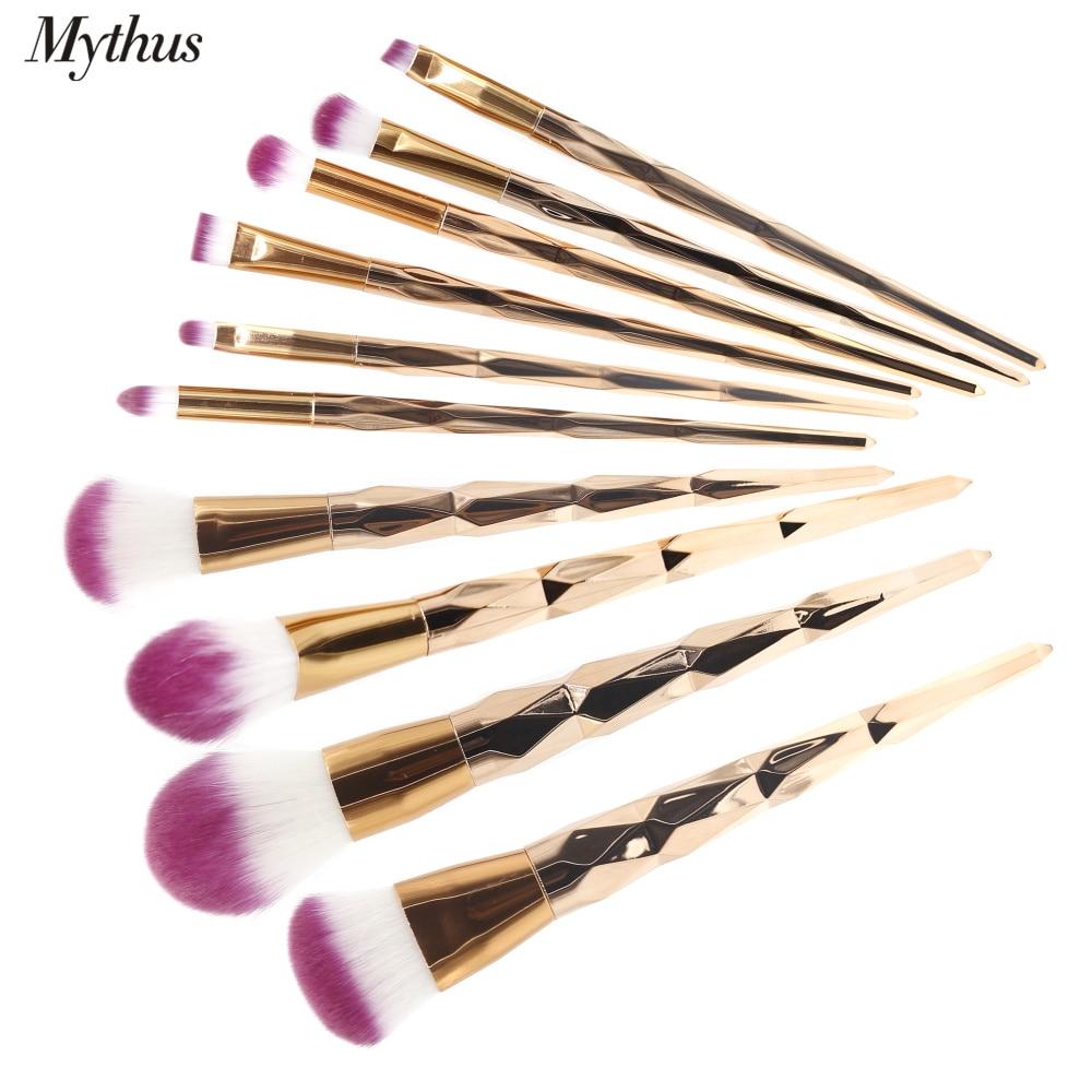 Mythus Pro 10 unids Maquillaje Pincel Suave Fibra Sintética Base de - Maquillaje