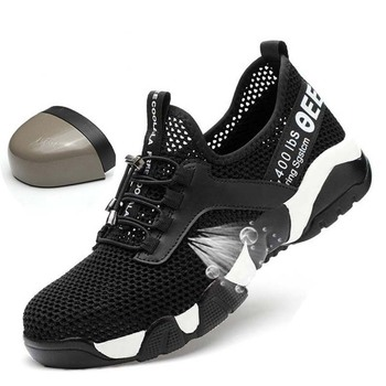 JUNSRM Men Steel Nose Safety Work Shoes grid Lightweight Breathable Reflective Casual Sneaker Prevent piercing Protective boots 1
