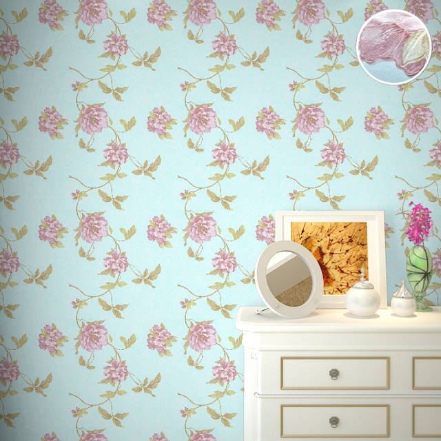 Classical Natural Blooming Floral Wallpaper Retro Rustic Shabby Chic Cottage Blue Flower Wall Paper For Bedroom