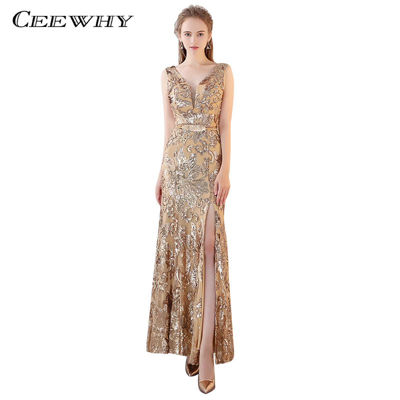 Ceewhy Sleeveless Gold Formal Dress Mermaid Evening Party Gowns