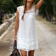 2017 Hot Sale Summer Dress Women Casual Sleeveless Beach Short Dress Tassel White Mini Lace Sexy Dress