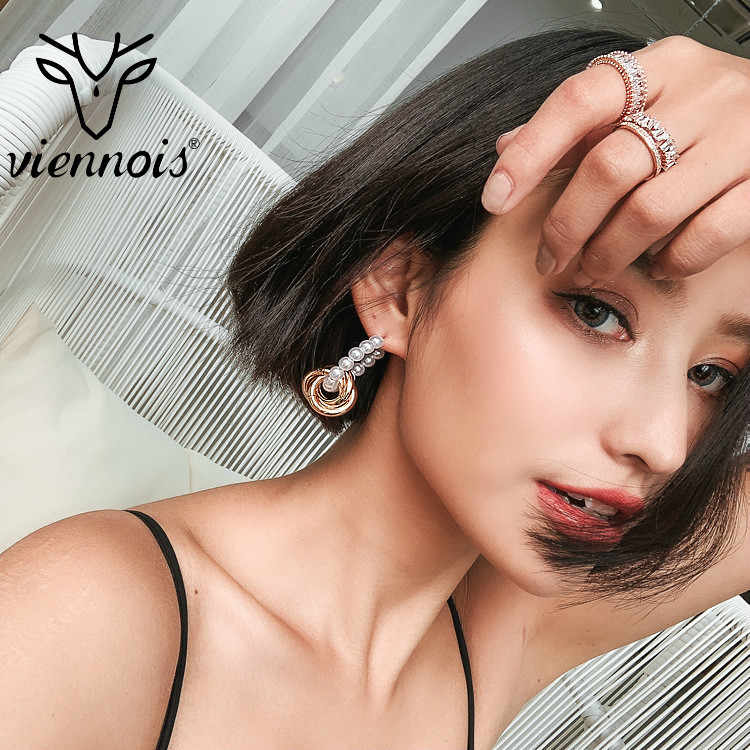 Viennois Earrings Woman Temperament Personality Joker Simulated  Pearl Eardrop Ear Circle Earring For Women
