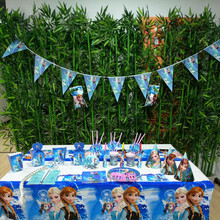 136pcs  Frozen Princess Anna And Elsa Party Supplies Decoration Suit Kid Birthday/Christmas/Cospaly Set