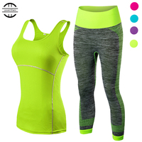 2017 YEL Hot Ladies 2 Pcs Sport Running Cropped Top 3 4 Leggings Set Gym Yoga