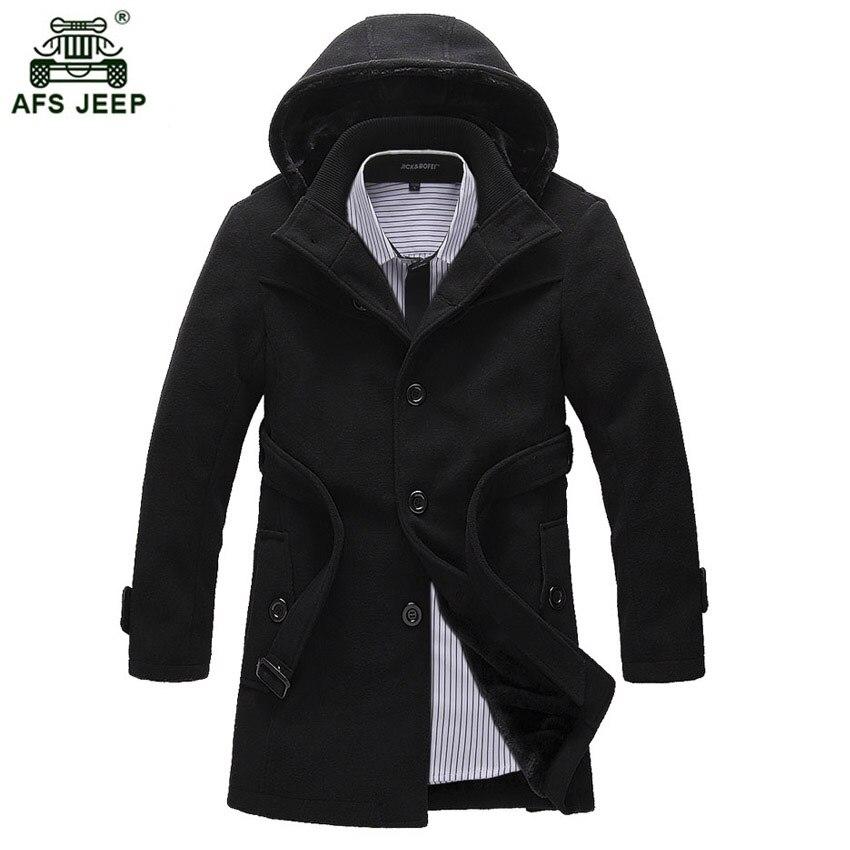 2018 hiver laine manteau décontracté moyen-long simple boutonnage Slim capuche noir laine mélanges hommes Trench chaud manteau 108