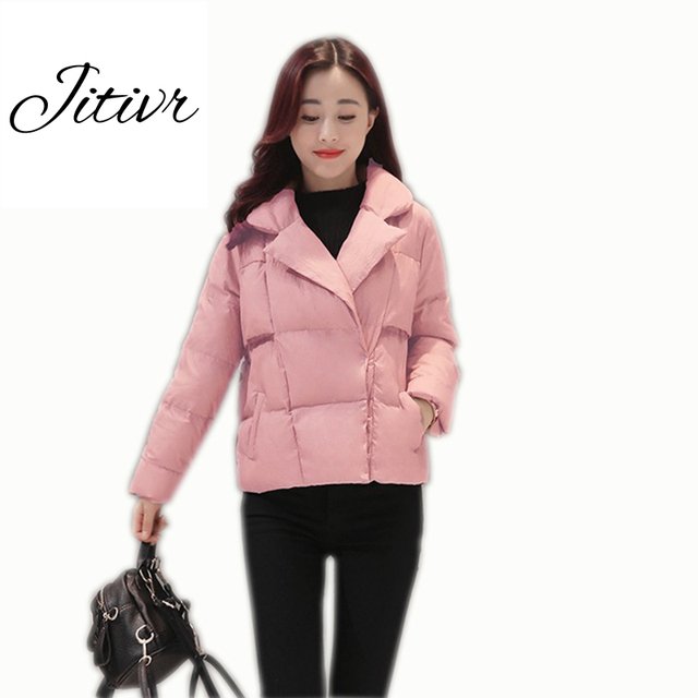 Jitivr Hot 2017 Newest Women's Fashion Warm  Short Cotton-padded Jacket Tailored Collars Thickening Bread Coat High Quality
