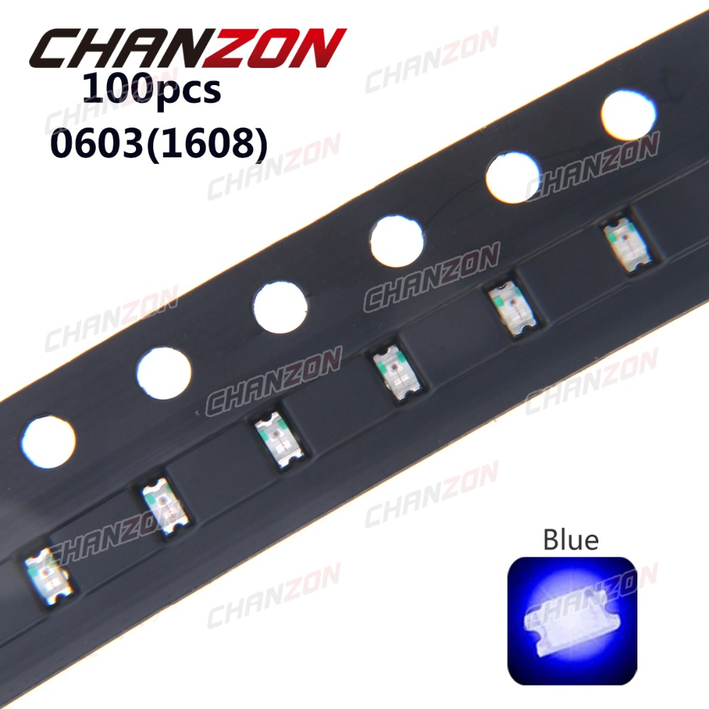 100pcs 0603 SMT Chip Bulb (<font><b>1608</b></font>) Blue <font><b>SMD</b></font> 20mA 3V <font><b>LED</b></font> Light Emitting Diode Lamp Surface Mount <font><b>LED</b></font> SMT Electronics Components image