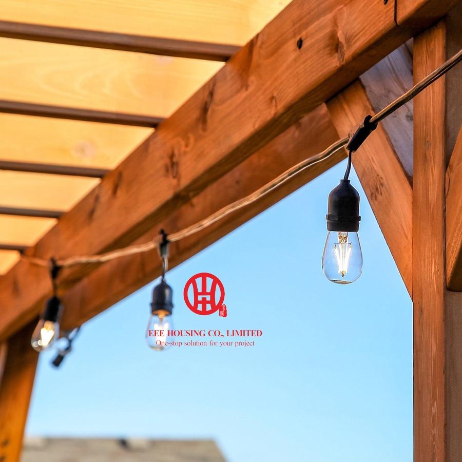 Retro Outdoor Waterproof 15m LED String Light E27 S14 2W Edison Filament Bulb Street Garden Patio Christmas Holiday Lighting