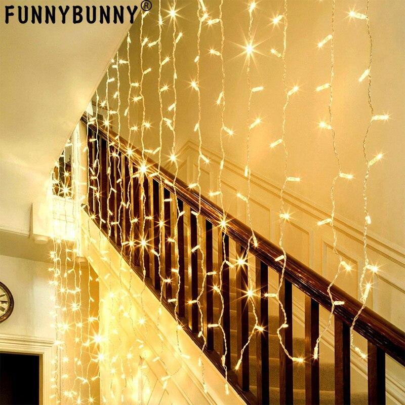 Фоны для вечеринок, оконные шторы, сосульки, 304 LED, 9.8ft x 9.8ft, 8 режимов, гирлянда, сказочный свет, теплый белый, свадьба