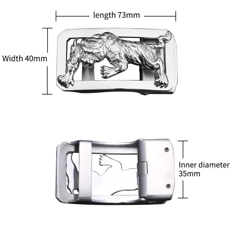 BIGDEAL شرسة النمر الذكور حزام جلد الفولاذ المقاوم للصدأ التلقائي مشبك مصمم رجالي فاخر زنار التبعي